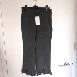 NWT ZARA Made in Spain Grey Ruffle Hem Pants